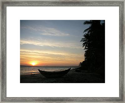 Sunset On The Beach In Vietnam Framed Print