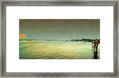 Sunset On The Beach Framed Print by Ken Gimmi