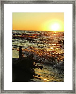 Sunset On The Beach Framed Print by Peter Mowry