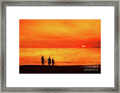 Framed Print featuring the digital art Sunset On The Beach by Randy Steele