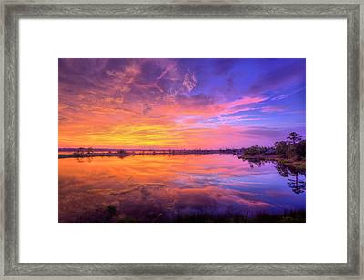 Sunset On The Black Water Framed Print by JC Findley