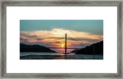Sunset On The Bridge Framed Print