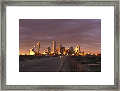 Sunset On The Dallas Skyline Seen Framed Print by Richard Nowitz
