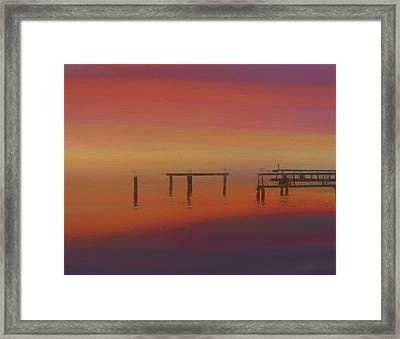 Sunset On The Dock Framed Print
