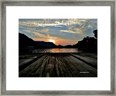 Sunset On The Dock Framed Print