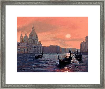 Sunset On The Grand Canal In Venice Framed Print