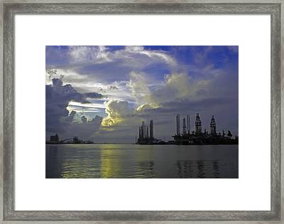 Sunset On The Harbor Framed Print