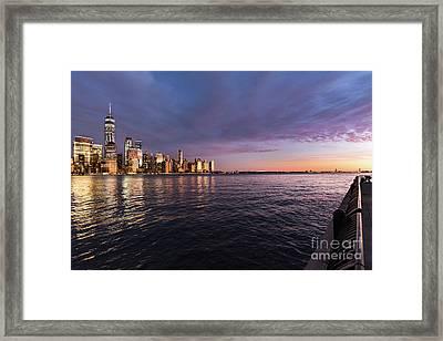 Sunset On The Hudson River Framed Print