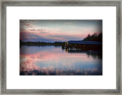Sunset On The Lake Framed Print by Dave Chafin