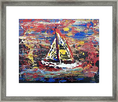 Sunset On The Lake Framed Print by J R Seymour
