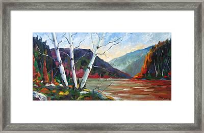 Sunset On The Lake Framed Print by Richard T Pranke