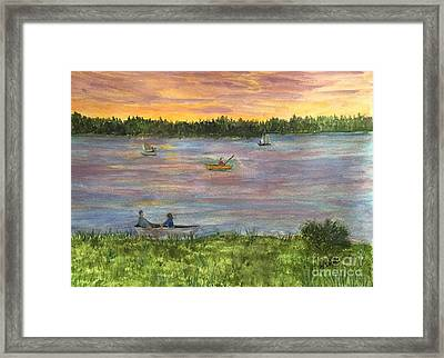 Sunset On The Merrimac River Framed Print
