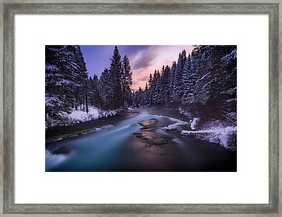 Framed Print featuring the photograph Sunset On The Metolius by Cat Connor