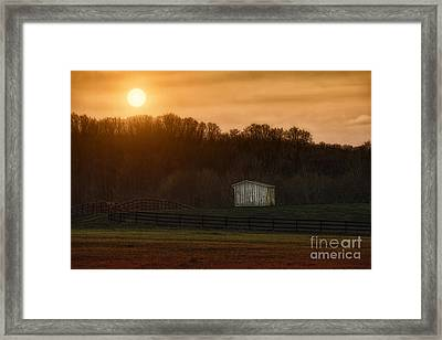 Sunset On The Ranch Framed Print