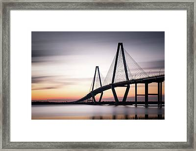Sunset On The Ravenel Bridge Framed Print