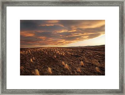 Sunset On The Ridge Framed Print by James Steele