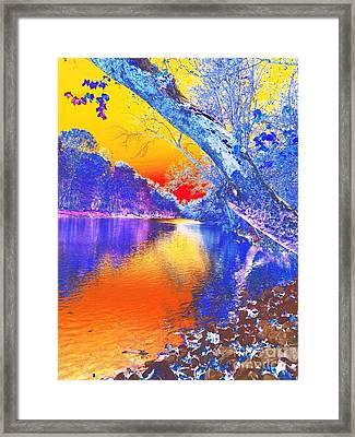 Sunset On The River Abstract Framed Print