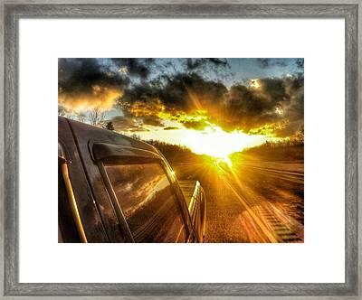 Sunset On The Road Framed Print by Erik Kaplan