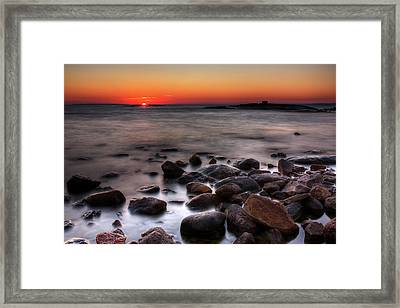 Sunset On The Rocks Framed Print by Brian Boudreau