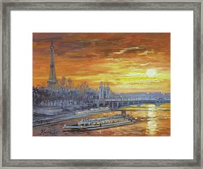 Sunset On The Seine, Paris Framed Print