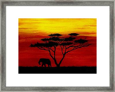 Sunset On The Serengeti Framed Print by Michael Vigliotti
