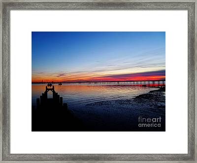 Sunset On The Shore Of Southend Framed Print