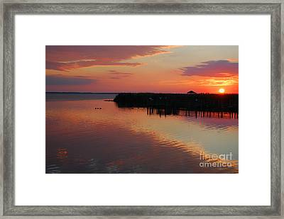 Sunset On The Sound Framed Print by Linda Mesibov