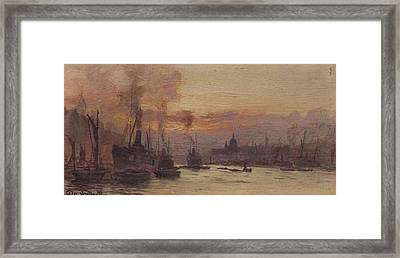 Sunset On The Thames With St Paul Framed Print