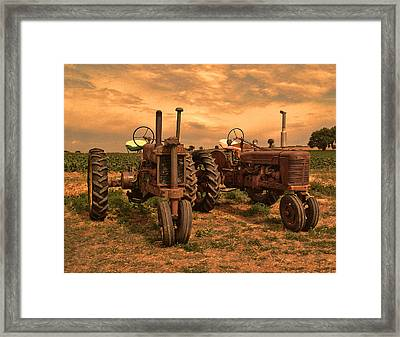 Sunset On The Tractors Framed Print