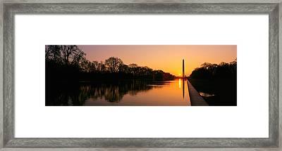 Sunset On The Washington Monument & Framed Print