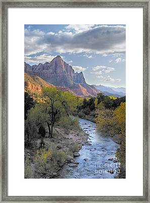 Sunset On The Watchman Framed Print by Sandra Bronstein