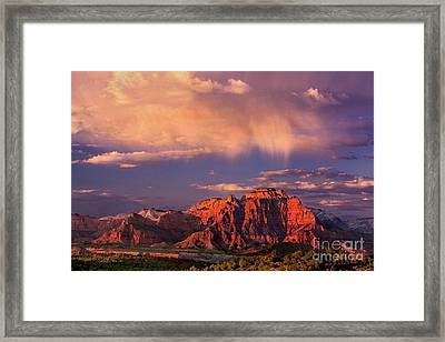 Sunset On West Temple Zion National Park Framed Print by Dave Welling