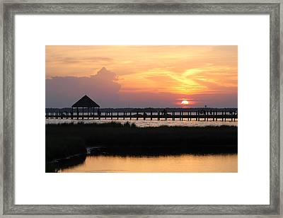 Sunset On Wetlands Walkway Framed Print