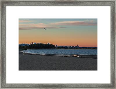 Sunset On Wollaston Beach In Quincy Massachusetts Framed Print