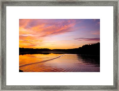 Sunset Over A Lake In Finland Framed Print by Sandra Rugina
