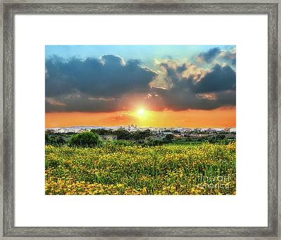 Sunset Over A Small Village Framed Print by Stephan Grixti