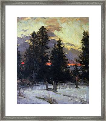 Sunset Over A Winter Landscape Framed Print