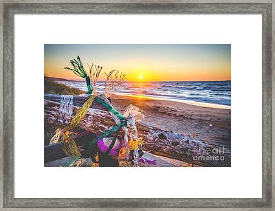 Sunset Over Adriatic Sea South Italy Canvas  - Warm Tones Framed Print by Luca Lorenzelli