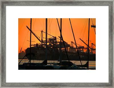 Sunset Over Alameda Harbor Framed Print by Charles  Ridgway