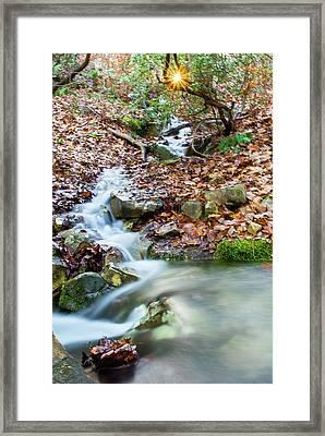 Framed Print featuring the photograph Sunset Over An Oak Mountain Stream by Parker Cunningham