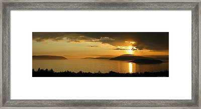 Sunset Over Blondin And Skin Island Framed Print by Laura Wergin Comeau
