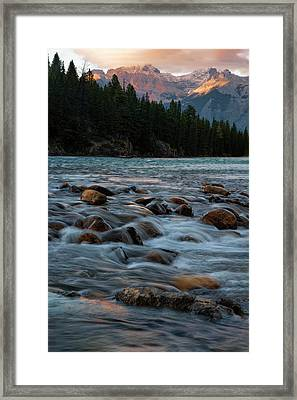 Framed Print featuring the photograph Sunset Over Bow River In Banff National Park by Dave Dilli