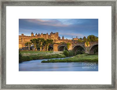 Sunset Over Carcassonne Framed Print by Brian Jannsen