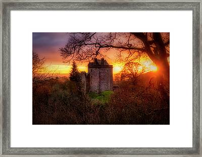 Sunset Over Castle Campbell In Scotland Framed Print