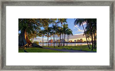 Sunset Over Downtown West Palm Beach From Palm Beach Island Framed Print by Justin Kelefas