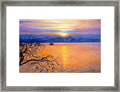 Sunset Over Eastern Russia Framed Print by Janet Silkoff