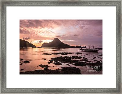 Sunset Over El Nido Bay In Palawan In The Philippines Framed Print