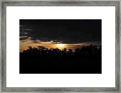 Sunset Over Farm And Trees - Silhouette View  Framed Print