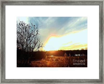 Sunset Over Fields Framed Print