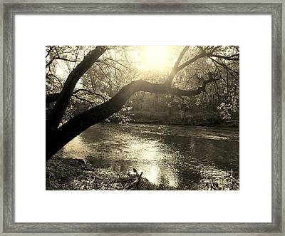 Sunset Over Flat Rock River - Southern Indiana - Sepia Framed Print